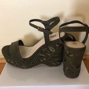 Green MIA floral wedge heels